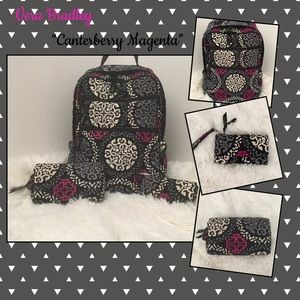 "Vera Bradley ""Canterberry Magenta"" Backpack Bundle"